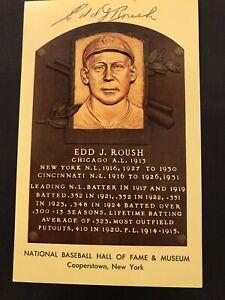 Edd J. Roush Signed 2 X HOF Plaque Hall Of Fame Autograph JSA Cincinnati Reds