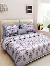Indian Handmade Hand Block Print King Size Bed Sheet With 2 Pillow Covers Set