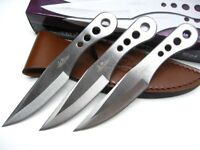 GIL HIBBEN Stainless Triple THROWER Throwing Knife Set 3 Knives + Sheath! GH0458