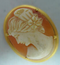 Vintage Rolled Gold & Shell Cameo Brooch 2.4cm x 3.1cm 5.7g