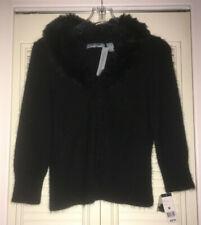 New~NWT~HILLARD & HANSON Angora Cardigan Sweater~Detach Fur Collar~Black~Size M