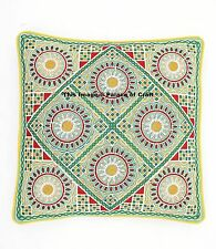 Indian Cotton Home Sofa Decor Embroidered Cushion Cover Green Pillow Cover 16""