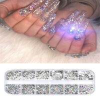 12 Box Crystal Rhinestone 3D Glitter Jewelry Glass Diamond Gems Nail Art Decors