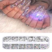 12 Box Crystal Rhinestone 3D Glitter Jewelry Glass Diamond Gems Nail Art Makeup