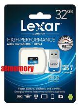 Lexar 32GB 32G 633x 95MB/s Micro SD SDHC Class10 UHS-I USB3.0 Card Reader GoPro
