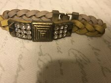 lia sophia leather bracelet yellow brass rhinestone