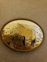 GOLD & SILVER TONE HORSE IN NATURAL SETTING SCENE BELT BUCKLE *GREAT CONDITION*