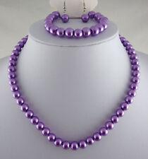Púrpura de cristal perla Collar Aretes Y Pulsera Set