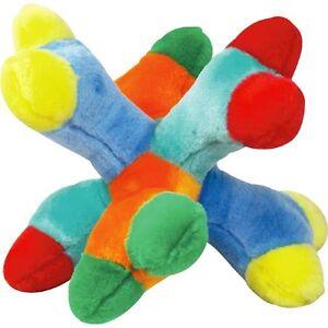 "Attack A Jack BIG Breed Dog Toys Colorful 6 Squeaker Soft Plush Bones 11"" Jumbo"