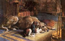 IRISH WOLFHOUND DEERHOUND KING CHARLES TOY SPANIEL DOG ENGRAVING PRINT H Dicksee