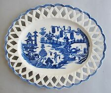 18th C. Dr. Wall Worcester Porcelain Reticulated Tray w/ Chinese Scene  c. 1780