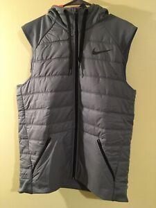 Nike Therma Synthetic Fill Full Zip Hooded Training Vest Gray Men's Medium