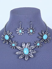"""16"""" silver turquoise clear crystal flower bib collar necklace 2"""" earrings"""
