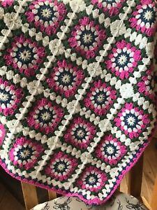 Handmade Crochet Throw, Blanket - bright colours - New