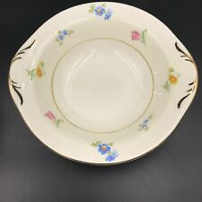 "Vintage Pope Gosser Paula Coupe Soup Bowl 6-5/8"" Pink Blue Flowers Gold Rim DH"