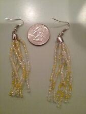 holo dangle native American ethnic Earrings yellow seed beads beaded iridescent