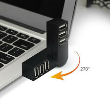 New Mini 3 Port USB 2.0 Rotating Splitter Adapter Hub For PC Laptop Notebook Mac