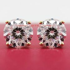 Genuine Real Solid 9k Yellow Gold Stud Fine Earring Engagement Simulated Diamond