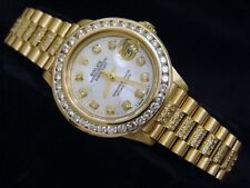 Lady Rolex 18K Yellow Gold Datejust President Watch Diamond Band Bezel MOP Dial