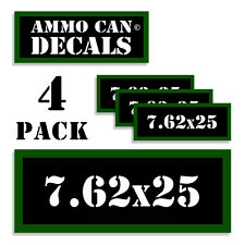 """7.62 X 25 Ammo Can 4x Labels Ammunition Case 3""""x1.15"""" stickers decals 4 pack"""