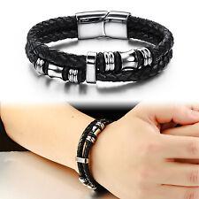 Herren Armband EDELSTAHL LEDER Schmuck Schwarz Silber Armreif Bracelet 20,5 cm