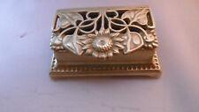 boite a timbre ancienne en laiton art nouveau tournesol