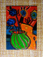 ACEO original pastel painting outsider folk art brut #010293 abstract surreal