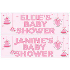 2 PERSONALISED PINK BABY SHOWER BANNERS 800mm x 297mm
