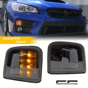 FOR 15-20 SUBARU WRX / STI Sequential LED Front Turn Signal Housing Black Smoked