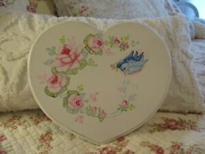 Shabby Chic Hand Painted Roses - Heart Plaque with bluebirds & roses