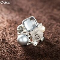 Austrian Crystal Pearl Flower Cluster Ring Women 18k White Gold Plated Jewelry