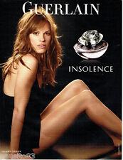 PUBLICITE ADVERTISING  016  2008  GUERLAIN  parfum Insolence & Hilary Swank