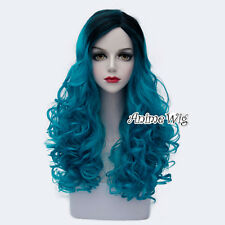 Turquoise Blue Mixed Black Long 60CM Curly Anime Cosplay Heat Resistant Full Wig