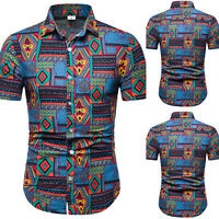 Men's Summer Hawaiian Casual Dress Shirt Business Short Sleeve Shirts Tops Tee