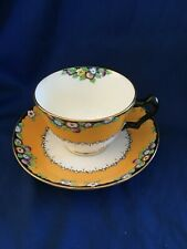 CROWN STAFFORDSHIRE HENRY BIRKS SONS ART DECO CUP SAUCER YELLOW BLACK