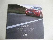 MG ZT 190 2001 PERFORMANCE CAR MAGAZINE SUPLEMENT, BROCHURE FREE UK POSTAGE