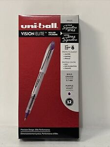 uni-ball Vision Elite Rollerball Pens Bold Point 0.8mm Purple 12 Count
