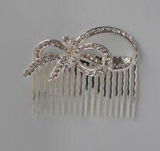 Clear crystal/diamante/rhinestone bow wedding/party hair comb slide. Silver. UK