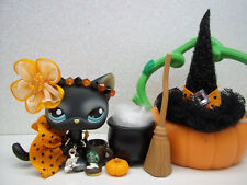 LITTLEST PET SHOP #994 BLACK WITCH CAT PUMPKIN SKIRT HAT HALLOWEEN ACCESSORIES