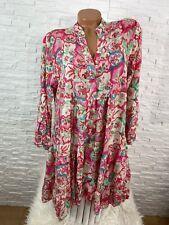 Italy Hippie Ibiza  Blumen pink Hängerchen Kleid Tunika Gr 36 38 40 42 Neu K-101