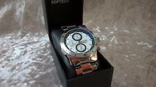 SOFTECH- MENS-SILVER - CHRONOGRAPH  WATCH- QUARTZ MOVEMENT - DIVING - 1003