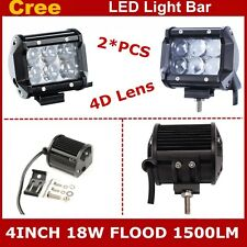 "2X 4""inch 18W Cree LED Work Light Bar Flood Lamp Off-road SUV Jeep Truck 4D Lens"