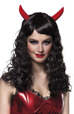 Parrucca Nera Diavolo Halloween Con Corna Halloween Fancy Dress