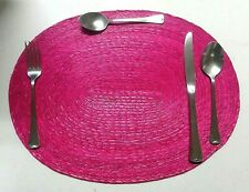 4 New beautiful Hand Woven Palm straw oval Placemats Pink Fiusha Mexican Rose