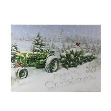 Northlight - Fiber Optic And Led Lighted Merry Christmas Tractor Canvas Wall Art