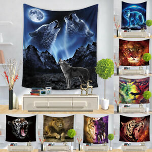 Animals Wolf Tapestry Lion Wall Hanging Tiger Cloth Yoga Blanket Home Dorm Decor