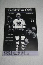 GAME ON! LA KINGS Handout * LAST REGULAR SEASON GAME at Forum * Wayne Gretzky
