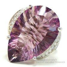 Echter 13,5 ct Fluorit Tropfen & weißer Zirkonia Ring 925 Silber 17,5 mm Gr. 55