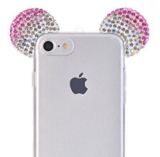 For iPhone 7 / 8 - Pink Diamond Bling Mickey Mouse Ears TPU Rubber Case Cover