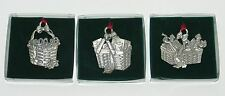 3 Collectible Longaberger Basket Pewter Hanging Christmas Ornaments